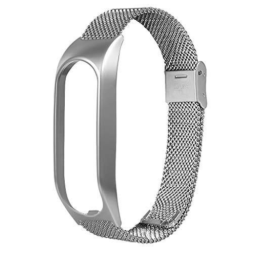 Meatyhjk Unisex Edelstahl magnetisches Armband Armband Ersatz für Tomtom Touch Smart Watch Zubehör silber