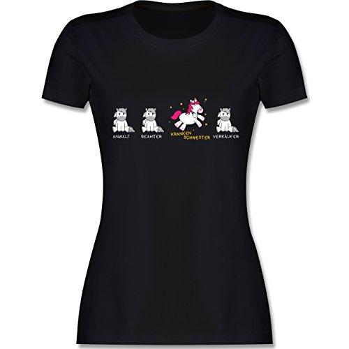 ankenschwester Einhorn - M - Schwarz - L191 - Damen Tshirt und Frauen T-Shirt ()