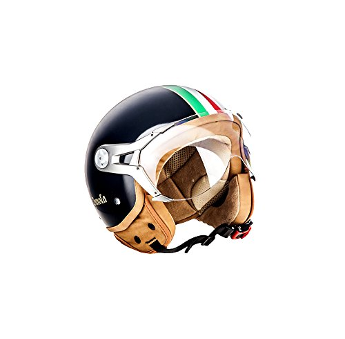 SOXON SP-325 Imola Black · Retro Biker Scooter-Helm Mofa Chopper Cruiser Jet-Helm Pilot Helmet Bobber Roller-Helm Vespa-Helm Motorrad-Helm Vintage · ECE zertifiziert · mit Visier · inkl. Stofftragetasche · Schwarz · S (55-56cm)