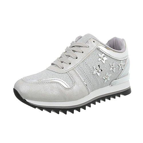 Ital-Design Sneakers Low Damen-Schuhe Schnürsenkel Freizeitschuhe Silber, Gr 39, G-122-