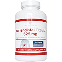 Mariendistel Extrakt 525 mg - 80% Silymarin (420mg) - 200 vegetarische Kapseln - frei von Trennmitteln und Füllstoffen - Detox durch Silymarin