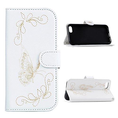 E-Lush Premium PU Leder Laserschneiden Schmetterling Muster Tasche für Apple iPhone 7 7S (4,7 zoll) Einfach Einfarbig Muster Klapphülle 360 Full Body Protection Flip Case Wallet Cover Weiche Flexible  Weiß