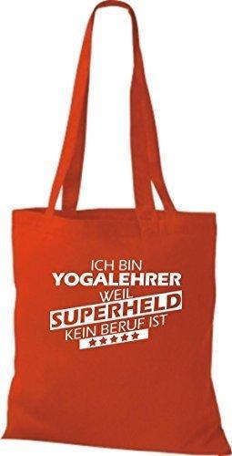 Borsa di stoffa SONO Yogalehrer, WEIL supereroe NESSUN lavoro è Rosso