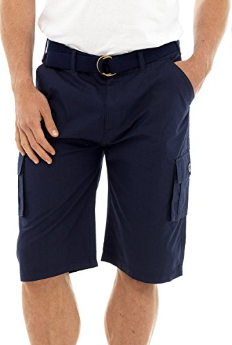Mens Solid gedruckt Seite Tasche-Cargo-Shorts mit Gürtel Navy Blau groß (Pool Cargo)