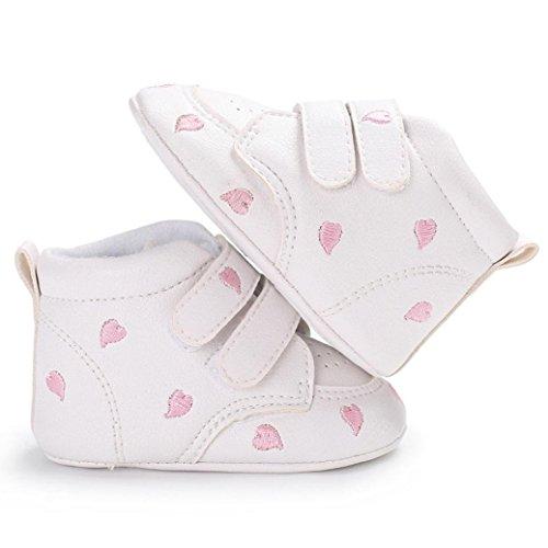 4563bccfb35b1 TRRAD Scarpe Neonato Unisex in Pelle Morbida - Ricamo a Forma di Cuore - Sneaker  Antiscivolo (6-12 mesi
