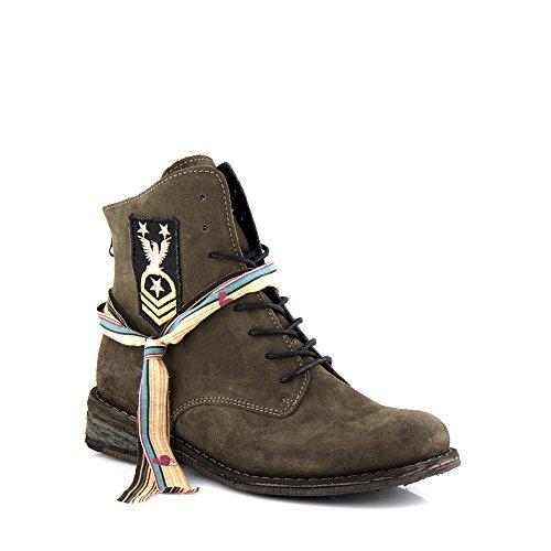 Felmini - Damen Schuhe - Verlieben Gredo A285 - Militärische Stiefeletten - Echte Wildleder - Grün Grün