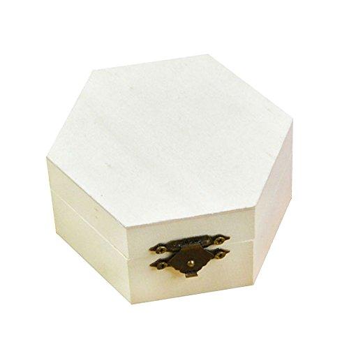 Demarkt Sechseck Holz Schatzkiste Holzkästchen Schmuckkästche Kleine Holzschatulle Holzkiste DIY Handwerk Schlamm Basis Schmuck Blume Geschenk Box (Handwerk Holzkisten Für)