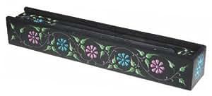 Großer Räucherstäbchenhalter mit Fach und schönem Blumenmuster