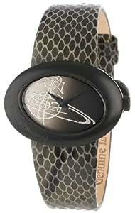 Vivienne Westwood Ellipse Women's Quartz Watch with Black Dial Analogue Display and Black Leather Strap VV014CHBK