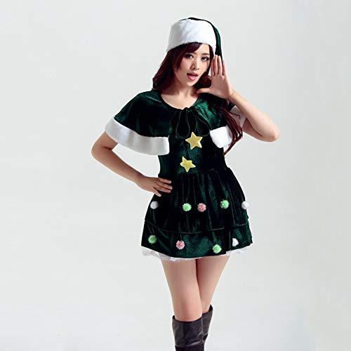 Olydmsky Weihnachtskostüm Damen,Santa Claus Kostüm Erwachsene weibliche grüne Elfe Kleid Anzug