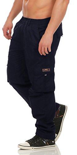 Herren Cargo Hose mit Dehnbund warm gefütterte Thermohose - mehrere Farben ID529, Größe:3XL;Farbe:Dunkelblau
