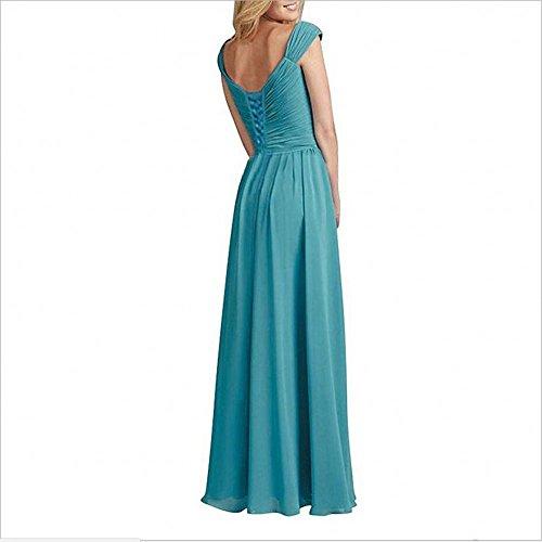 Charmant Damen Lila Elegant Geraft Chiffon Abendkleider Ballkleider  Brautjungfernkleider Partykleider Lang Blau
