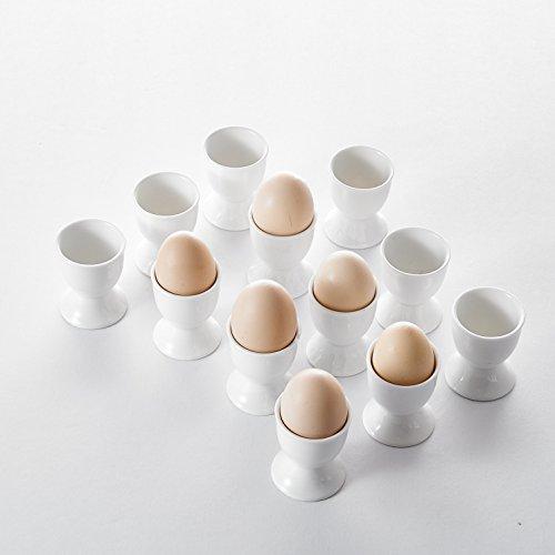 Malacasa Série Regular, 12pcs Coquetiers Tasse Oeufs Petit Dejeuner Céramique Porcelaine Blanc