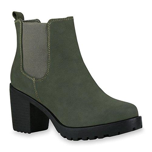 Damen Stiefeletten Blockabsatz Chelsea Boots Profilsohle Dunkelgrün