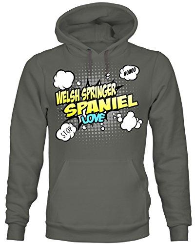 Siviwonder Unisex Hoodie Kapuzensweatshirt - Welsh Springer Spaniel britische Hunderasse - Comic Cartoon Fun Dark Grey M -