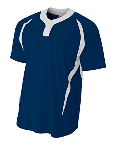 A4Damen nb4229nb4229-nvw 2Tasten Color Block Henley Sportswear, damen, NB4229, marineblau / weiß, Large (- Henley 2-taste)