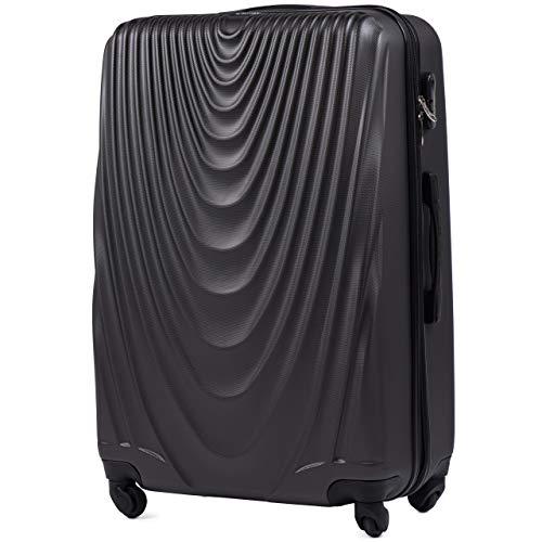 Vinci luggage carrello spazioso - valigia leggera per aeroplano - custodia lussuosa e moderna con impugnatura telescopica a due stadi e lucchetto a combinazione (grigio scuro, l 77x48x32)