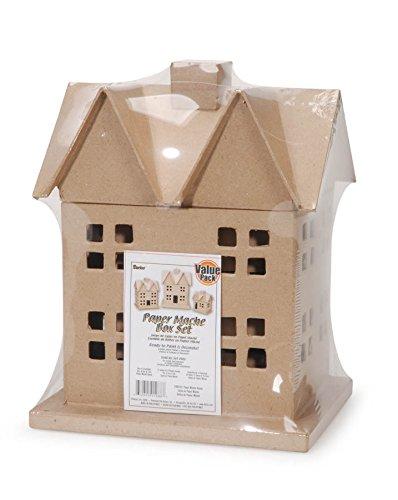 Darice Pappmaché House Box Set 3-teiliges Box-Set 12 x 8-1/2
