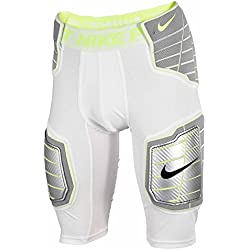 Nike Pro Combat Hyperstrong Compression Hard Plate Football (Medium, WHITE/WHITE/VOLT/VOLT)