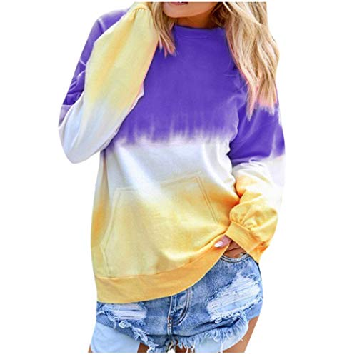 Dorical Sweatshirt Casual Langram Farbverlauf Farbblock Rundhals Pullover Tops Oberteile Tops Tunika Casual Mode Herbst Winter Langarmshirt(Z01-Lila,XXXXX-Large)