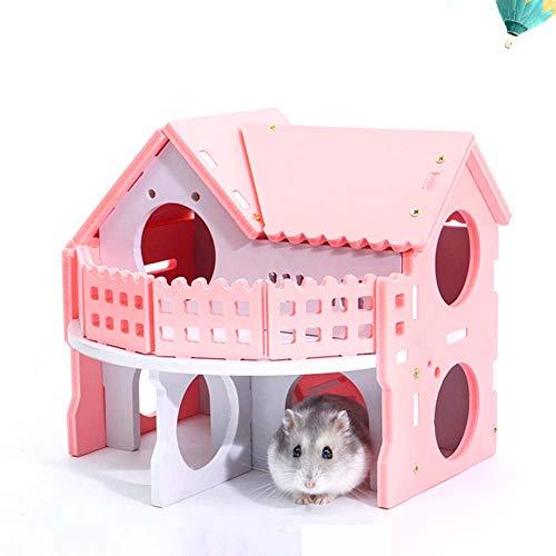 dontdo Kleintierkäfig-Spielzeug aus Holz, Doppeldeck, Hamster, Ratte, Meerschweinchen, Villa Haus