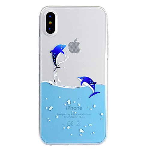 Custodia per iPhone X Cover, ZCRO Custodia in Silicone Trasparente TPU Colorata Modello Ultra Slim Disegno Case Gomma Morbida Antigraffio Bumper Caso Cover Protezione con Penna Stilo per iPhone X 5.8  Delfino