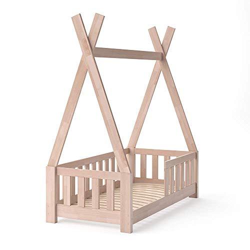 VitaliSpa Kinderbett Tipi Indianer Bett Kinderhaus Zelt Holz Hausbett 70x140cm Natur ++++ MASSIVHOLZ +++ HOCHWERTIG ++++