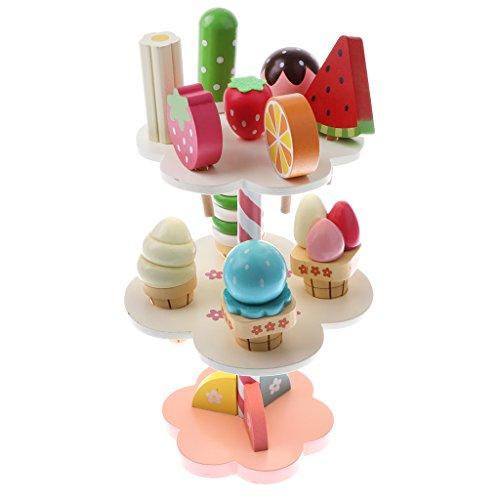 MagiDeal 11 Stück/Set Kinder Spielküche Essen Holzspielzeug - 3-lagig Erdbeere Eiscreme Süßigkeit Dessert Rack Spielset (Eis-rack)