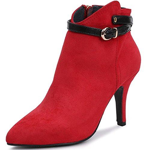 Donne Autunno E Inverno Stivali nudi Pelle opaca Fine con appuntito stivali Tacchi alti Stivali nudi Stivali femminili , Red , 37 RED-42