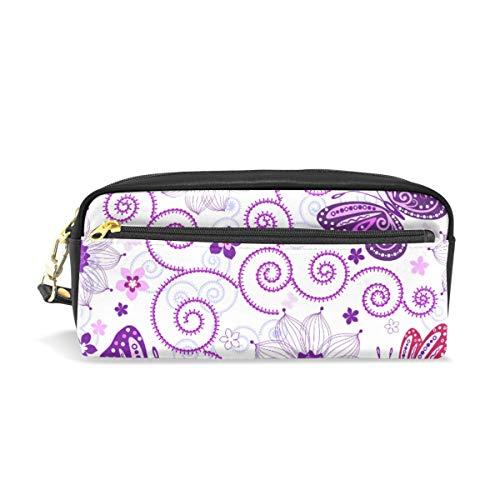 Emoya Federmäppchen/Kosmetiktasche/Make-up-Tasche mit Blumenmuster und Schmetterlingen, Pink/Violett