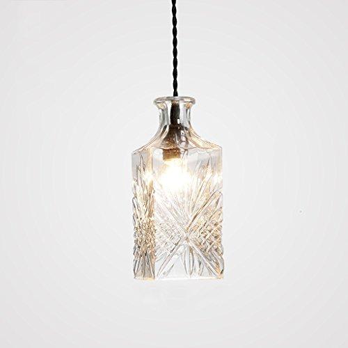 GAOLILI Bouteille en verre gravé lustres en verre unique tête moderne minimaliste créative personnalité mode restaurant lampes en cristal gravure multi-groupe effet de gravure utilisation de l'utilisation de la combinaison Plus E27 ( Couleur : B )
