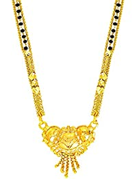 Shining Jewel Gold Brass Mangalsutra For Women