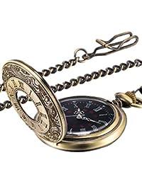 Reloj de Bolsillo Vintage Reloj de Hombres de Acero con Cadena (Bronce)