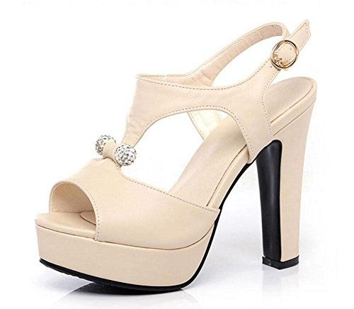 Peep Toe Knöchelriemen Pumps High-Heel Sandalen Wasserdichte Plattform Römische Damen Hollow Damen Schuhe Große Größe Beige