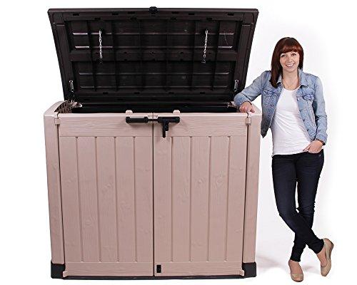Keter Gerätebox für Garten Mülltonnenbox Store It Out Arc beige braun - 3