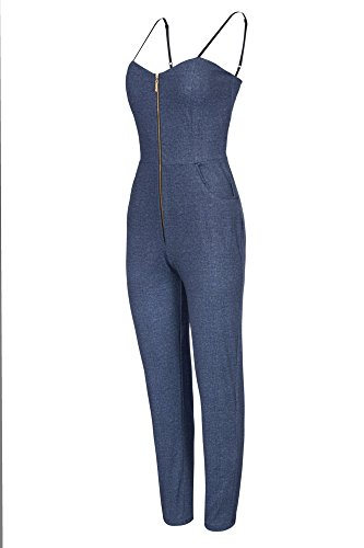 Laeticia Dreams Damen Overall Jeans Optik Lang Träger S M L XL Denim Blau