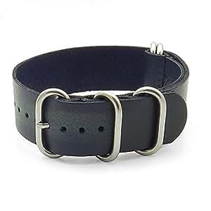 26mm Noir Style Ancien en cuir G10 Nato Zulu Bande de montre