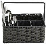 Lakeland Rustic Dark Grey Plastic Wicker Tableware - Cutlery Basket & Handle