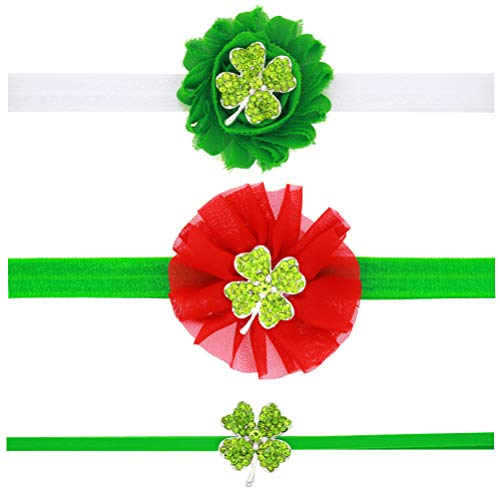 Irish Shamrock Strass (Amosfun Baby Klee Stirnbänder Shamrock Head Wraps Strass Haarschmuck für Kinder Kleinkinder 3 Stücke)