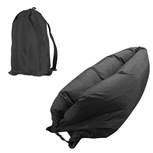 Portable Camping Selbstaufblasbare Air Bed LAZY Liege Strand Hangout Schlafen, Strand, Angeln, Kinder, Kühlen, Parteien, Schwimmbäder (SCHWARZ)