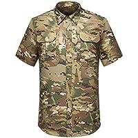 Kaiyei Hombre Camisas Tactica Militar Secado Rápido Manga Corta Solapa Botón Camuflaje Combate Camisetas Ropa de Trabajo Respirable Respiraderos Camping Caceria Bosque