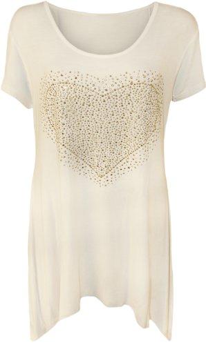 WearAll - Damen Übergröße herz bolzen kurzarm Langes Top - Weiß - 42 (Herz T-shirt Damen)