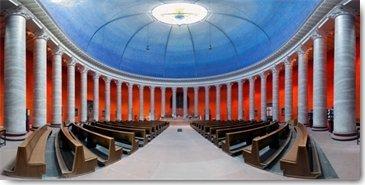 Digitaldruck / Poster Rolf Fischer - St.Ludwig-Kirche Darmstadt - 80 x 40cm - Premiumqualität - Fotokunst, Kirche, Klassizistisch, Architektur, Flur, Treppenhaus, Wohnzimmer - MADE IN GERMANY - ART-GALERIE-SHOPde