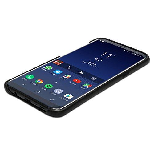 iPhone 8 Plus Cover / iPhone 7 Plus Cover in Pelle Nera - KANVASA Skin Case Custodia Ultrasottile per Apple iPhone 8 Plus & 7 Plus (5,5) - Borsetta di Lusso in Vera Pelle - Cuoio Premium Nero Galaxy S8 Plus