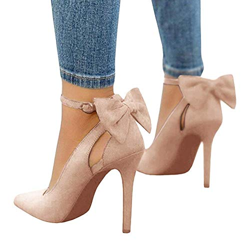Tomwell Sandalias Mujer Arco Tacón Alto Zapatos Apuntado Zapatos Boda Fiesta Zapatos Rosa 39 EU