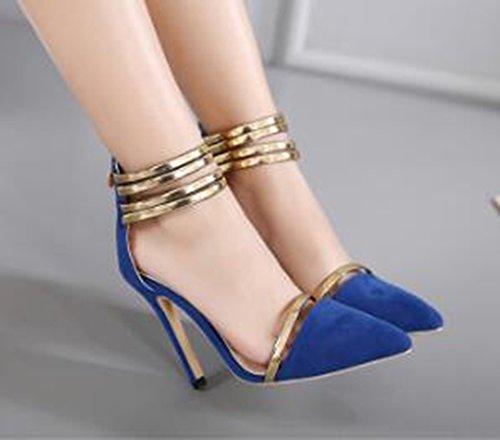 Aisun Damen Süß Metall Pointed Toe Reißverschluss High Heels Pumps Blau