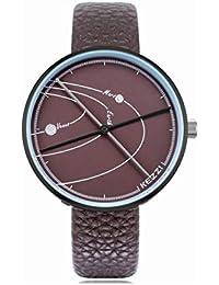 WULIFANG Reloj De Cuarzo Mens Planeta Trayectoria Marcar Correa De Cuero Relojes Hombre Personalidad Analógico Reloj