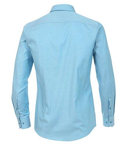 Venti - Slim Fit - Herren Langarm Hemd aus 100% Baumwolle mit Kent Kragen in verschiedenen Farben (172678600) Türkis (350)