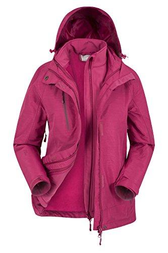 Mountain Warehouse Bracken Melierte 3-in-1-Jacke für Damen - Atmungsaktiver Mantel für Damen mit Fleecejacke, wasserfester Regenmantel, Sturmklappe, versiegelte Nähte Beerenton DE 46 (EU 48)