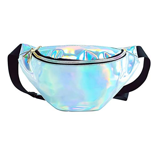 Deeplive Holographic Shiny Neon Waist Fanny Pack Waterproof for Women Girls Men,Holographic Chest Pack Bum Bag for Rave,Festival,Ride,Party, Travel,Musicale (2-Holographic Silver)